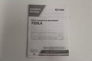 FUNAI OWNERS MANUAL VIDEO CASSETTE RECORDER F220LA 0VMN02402