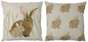 """EVANS LICHFIELD RABBITS REVERSIBLE LINEN MADE IN UK BROWN CUSHION COVER 17"""""""
