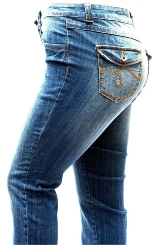 Bootcut Jeans Womens Plus Size Curvy Stretch Relaxed Fit flap pocket Straight