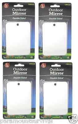 4 Un-Breakable Double Sided Signaling Survival Mirrors Stainless Steel Camping