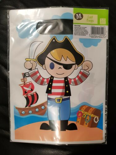 PIRATE PARTY BAGS Birthday Treasure Chest  Ship PACKS OF 10 **Tablecloths Too**