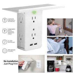8-Port-Shelf-Socket-Surge-Protector-Wall-Outlet-6-Extender-Outlet-2-USB-Ports