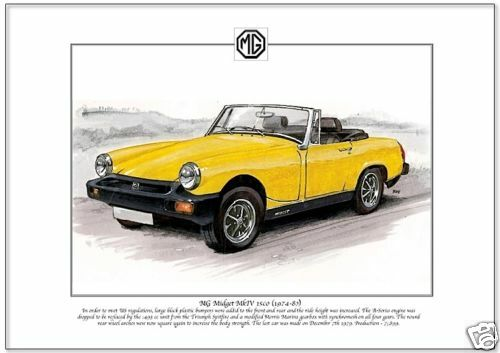 MG MIDGET MkIV 1500 British made Sports Car Fine Art Print  A4 size 1974-80