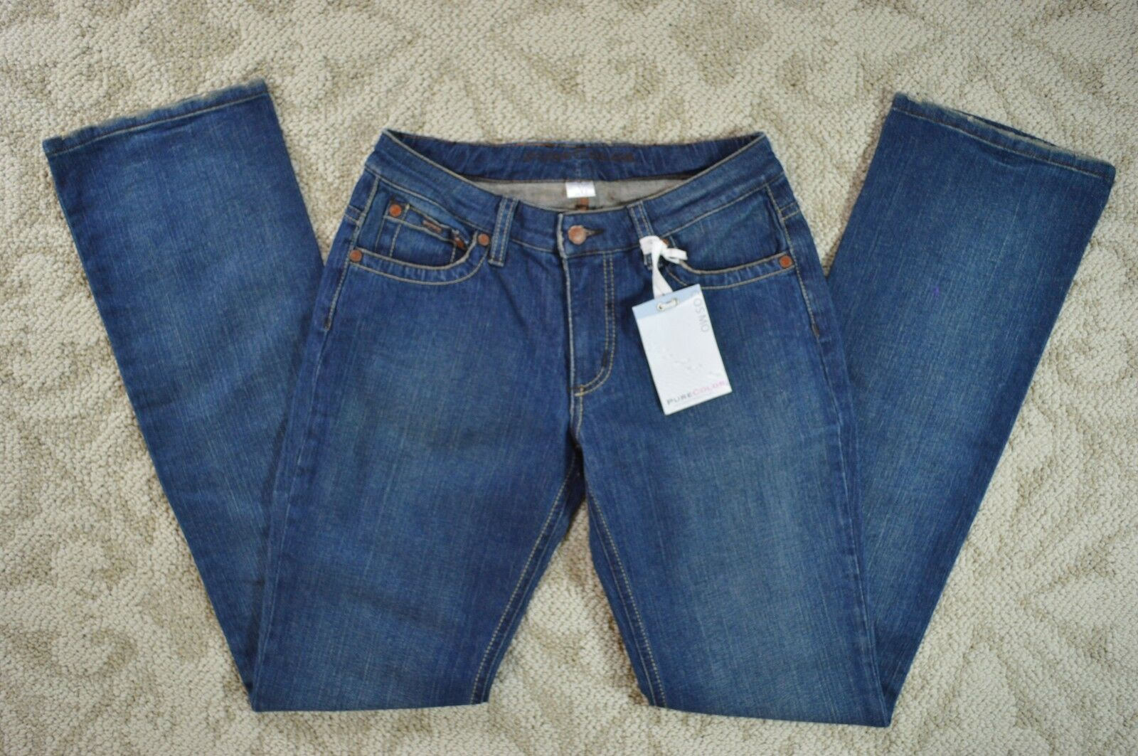 Pure color Cosmo Women's Long Straight Leg Denim bluee Jeans 26 X 33 NWT  USA