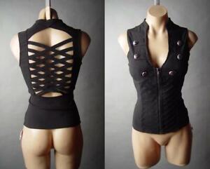 Black-Military-Punk-Steampunk-Goth-Moto-Biker-Cage-Vest-Top-06-mv-Shirt-S-M-L
