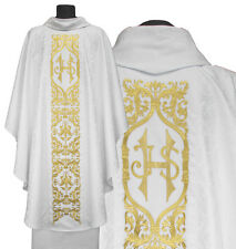 White Gothic Chasuble with stole 589-B25g Vestment Casulla Blanca Weiss Kasel