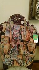 TAPESTRY CAT SHOULDER BAG TOTE PURSE WITH TWO SIDE POCKETS