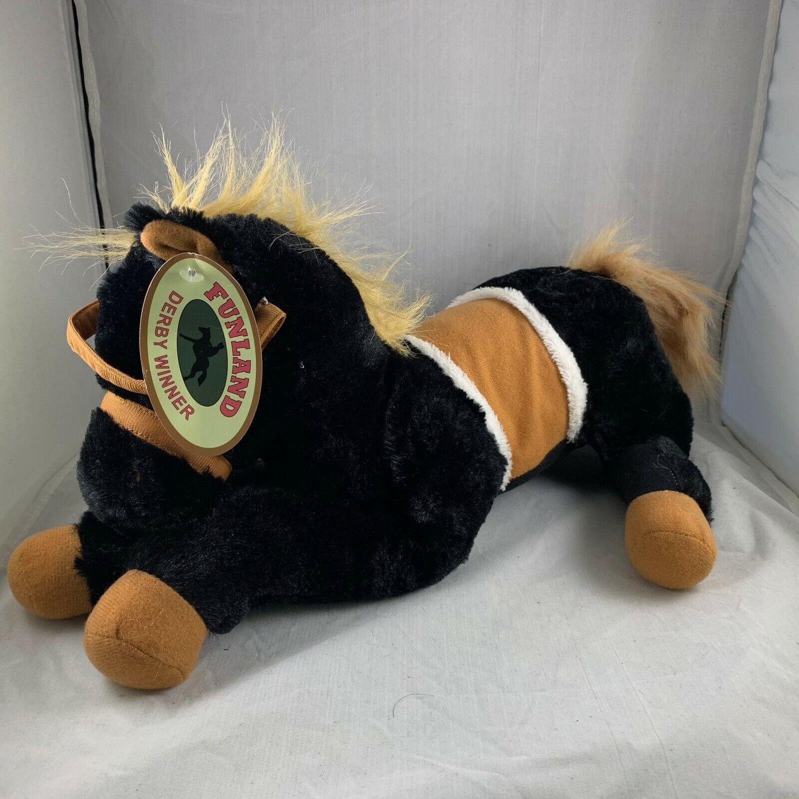 FUNLAND DERBY WINNER WINNER WINNER GOFFA INT'L CORP LARGE BLACK STUFFED PLUSH HORSE TOY NWT 493