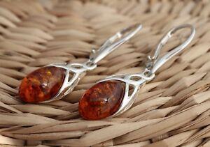 Cognac-Baltic-Amber-925-Sterling-Silver-Dangle-Drop-Celtic-Earrings-Jewellery