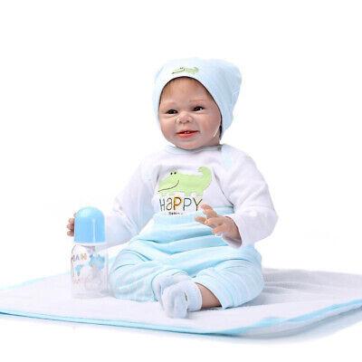 "Handmade 22/"" Reborn Kit Soft Silicone Head Limb Mold Unpainted Baby Doll DIY"