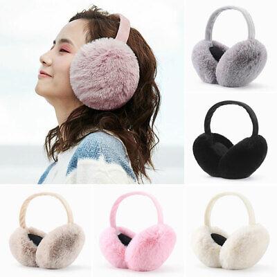 Womens Ladies Girls Knitted Headband With Faux Fur Muffs Earmuffs Winter Warm