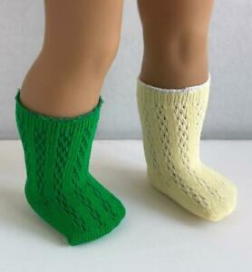 Lot-of-2-Socks-Patterned-Green-Yellow-for-18-034-American-Girl-Doll-Clothes-AG-new