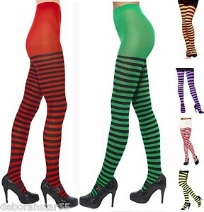 image is loading womens striped tights red orange purple green stripey - Halloween Tights For Women