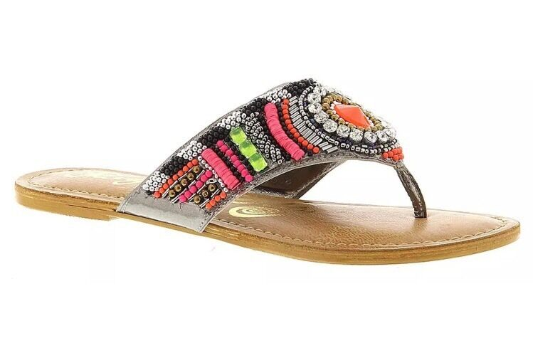 Naughty Monkey Electric Shine Fuchsia Sequin Embellished Sandal 6.5 M Thong Used