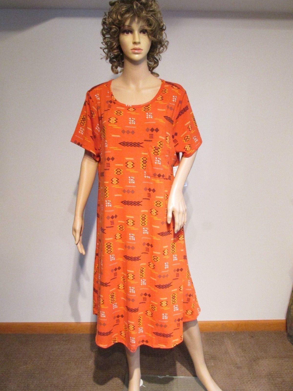 LULAROE Carly 2XL orange Multi-color Southwest Design Dress Hi-Lo NWT