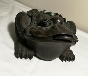 Chinese-Feng-Shui-bronze-metal-Toad-Wealth-Sculpture-marked-L30cm