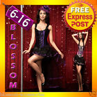 CC46 Ladies Burlesque Moulin Rouge Hens Night Party Dress Costume Corset + Skirt