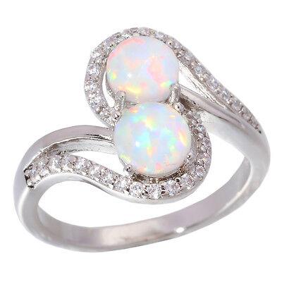 White Fire Opal Zircon for Women Jewelry Gemstone Silver Ring Size  5-12 OJ5462