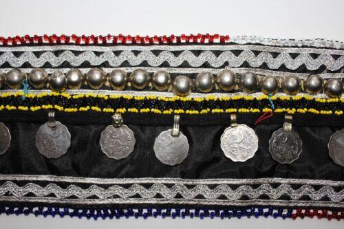ca 83 cm lang Mittelalter Gürtel Schwarzer Tribal Gürtel mit Tribalmedaillons