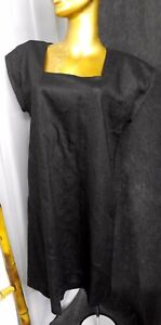 BABETTE-100-Linen-Simple-Black-Dress-Relax-Fit-Asymmetric-Hem-Sz-XS