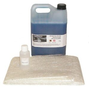 5kg-de-RESINE-POLYESTER-ISO-MARINE-6-5m-de-MAT-DE-VERRE-125g-catalyseur