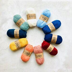 100-Superfine-Peruvian-Alpaca-4ply-yarn-knitting-crochet-gift-set-SEASIDE-10x50g