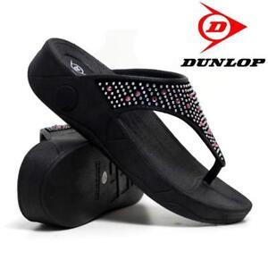 01403eb7b6d0c Womens Dunlop Low Wedge Ladies Flip Flop Toe Post Toning Beach Slip ...
