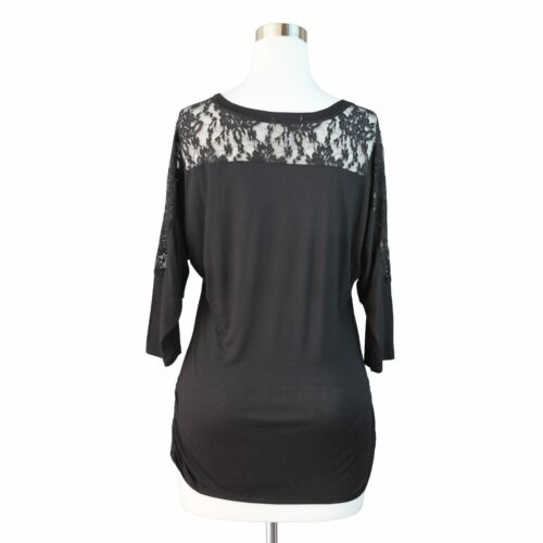 Womens Plus Size Tunic Top Lace Sleeve Back Detail Side Shirring Bottom Solid