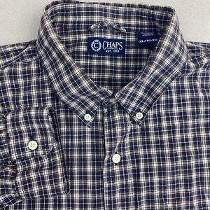 Chaps-Button-Up-Shirt-Mens-XL-Blue-Brown-White-Long-Sleeve-Check-Casual-Shirt