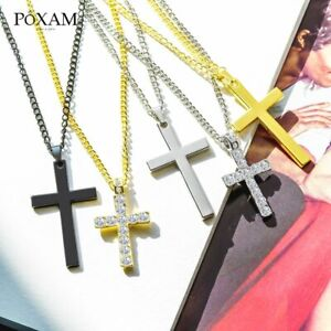 Mens-Womens-Stainless-Steel-Figaro-Chain-Necklace-w-Cross-Pendant-Silver-Gold-BK