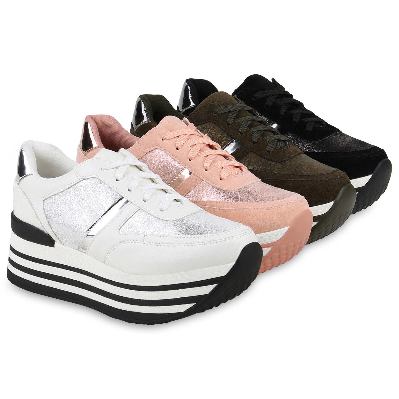 Damen Plateau  Sneaker Lack Metallic Turn zapatos  Plateau Freizeit Schnürer 820690 Top 5edc82