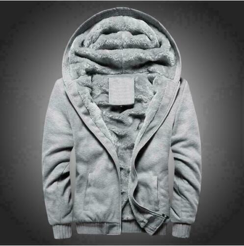 Lined Fur Jacket Sweatshirt Zip Up Hoodies Fit UK Sport Warm Tops Mens Fleece