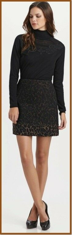 298 Elie Tahari Alexis Molasses Wool Leopard Print Skirt 10