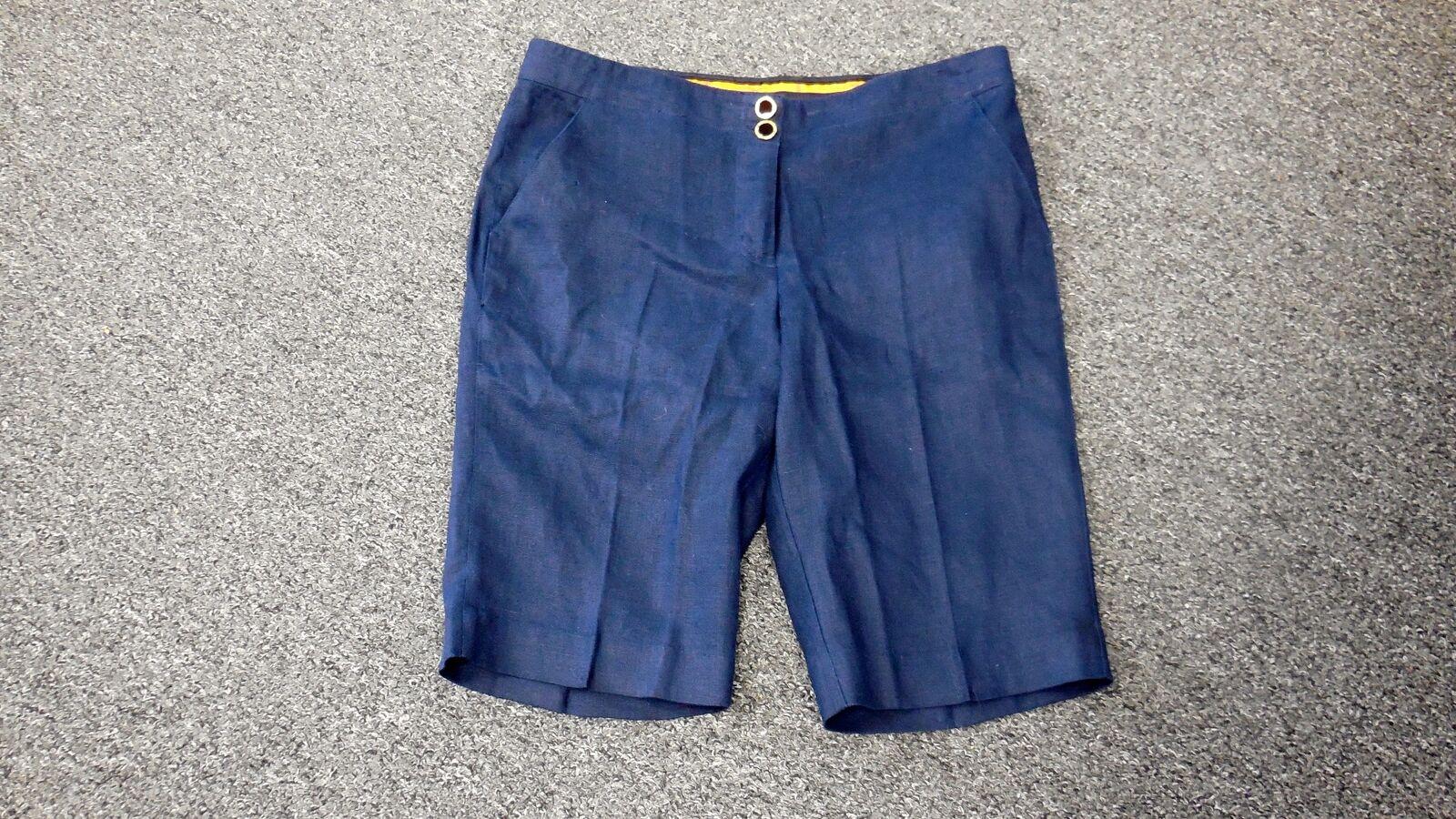 TORY BURCH Navy bluee Linen Flat Zip Front Solid Bermuda Shorts Sz 10 FF4307