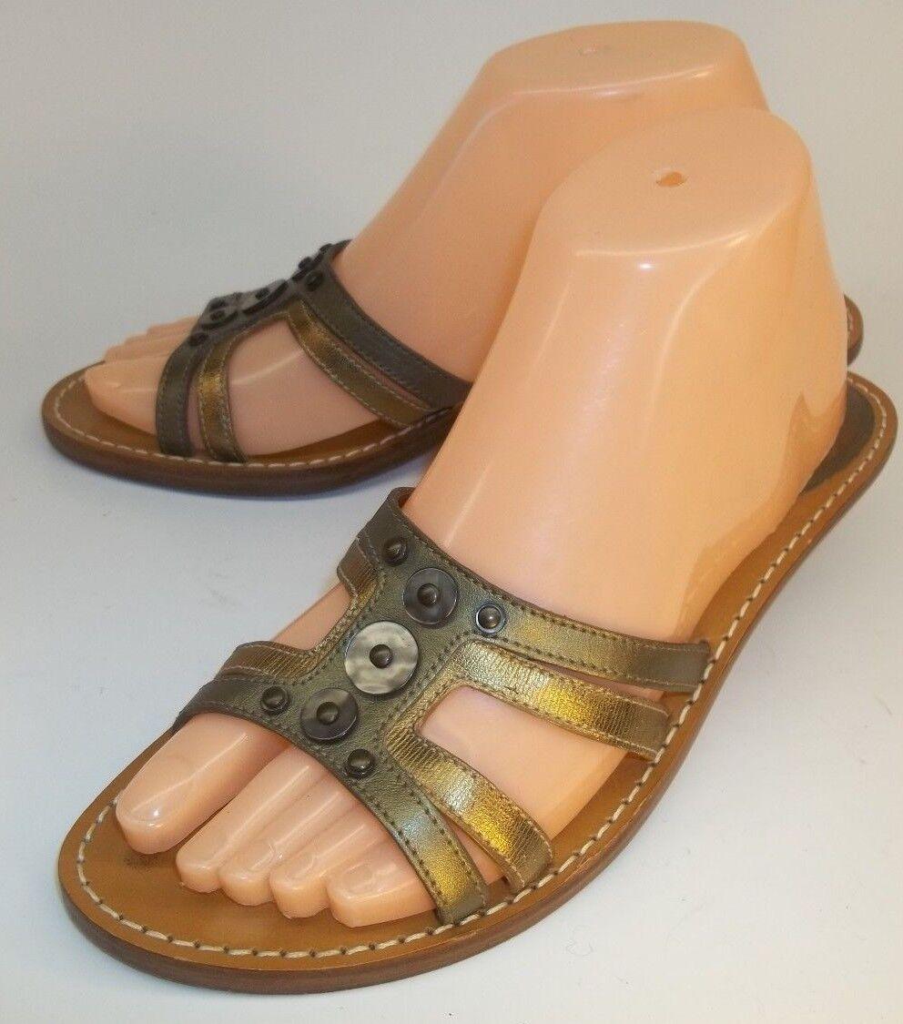 Cole Haan Wos Shoes Mules Kitten Heels US7.5B Metallic Gold Green Leather Resort