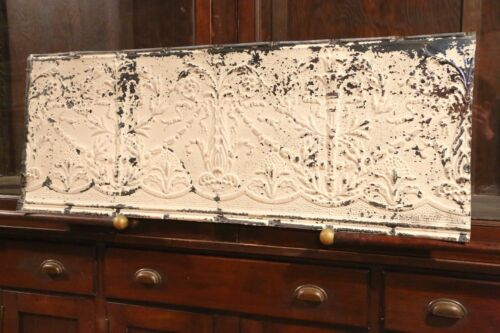 """Antique Metal Tin Ceiling Tile 48/"""" X 18/"""" shabby chic Sheet Panel Reclaim Salvage"""