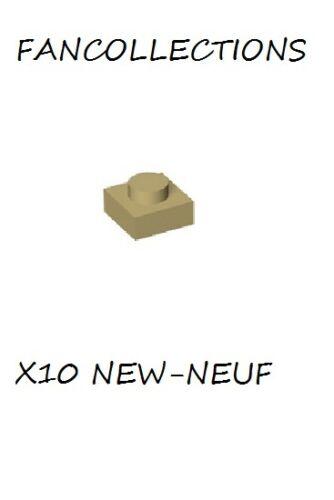 LEGO x 10 Tan Plate 1x1-3024 NEUF