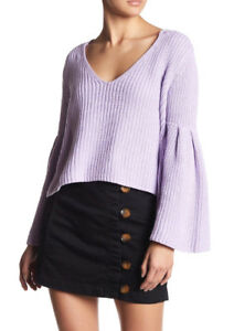 f315428b1faffd Details about Free People OB710275 Damsel Cable Knit Bell Sleeve Pullover  Sweater Light Purple