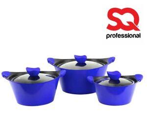 Caia Non Stick Cookware Nouveau 3pc DIE CAST Set Pot Pan Couvercle Casserole Casserole NEUF