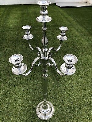 SILVER CANDELABRA 5 ARM 3 SIZES 40 80 /& 150cm WEDDING CANDLESTICK CENTREPIECE