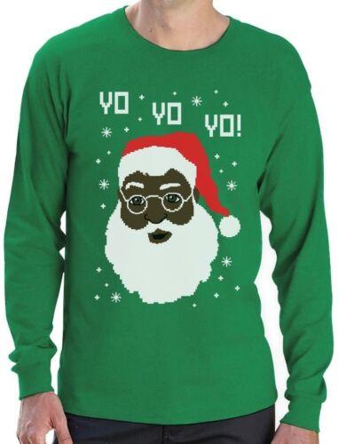 Yo Yo Yo Black Santa Ugly Christmas Sweater Long Sleeve T-Shirt Funny Xmas Gift