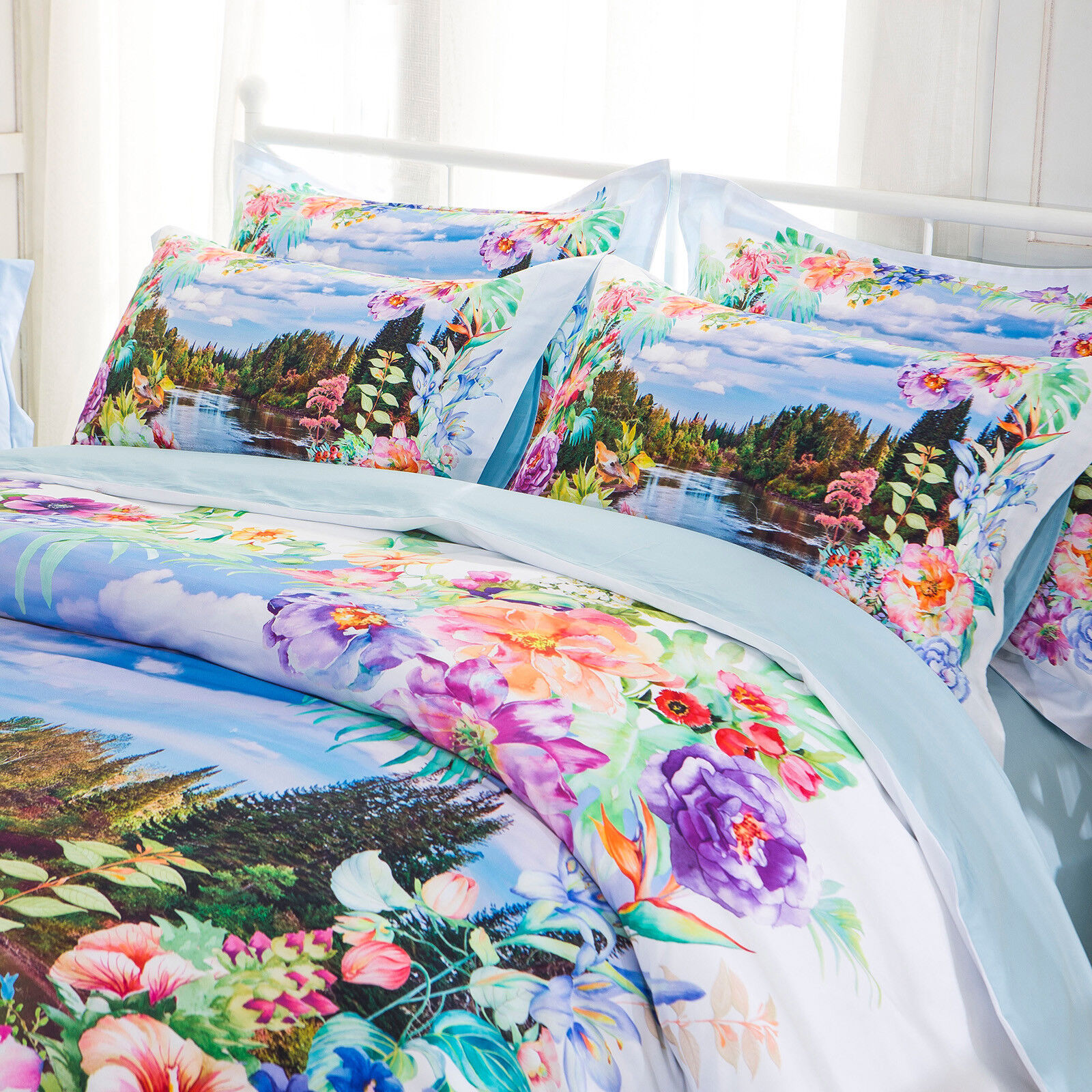 Springs Valley 100% Cotton Digital Print Queen King Duvet Cover Bedding Set