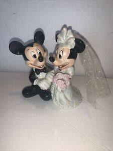 "Disney Park Mickey & Minnie Wedding Figurine Bride & Groom Cake Topper 5"""