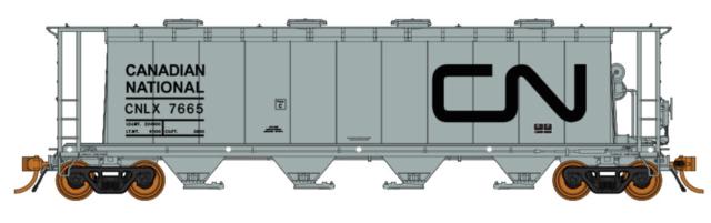 RAPIDO 1/87 HO CANADIAN NATIONAL 3800 CU. FT. CYLINDRICAL HOPPER RD. # 7684 F/S