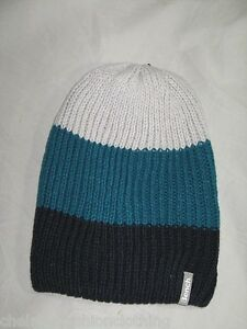 BENCH Ribbed  Knitted Slouch Beanie Hat   Grey BNWT
