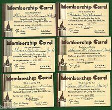 VINTAGE CAMP FIRE GIRL - 1938-45 GARDIAN MEMBERSHIP CARDS - NOT SCOUT