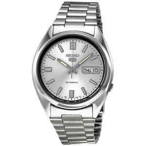 bfb583fde412 Image is loading Seiko-5-Automatic-Silver-Dial-Stainless-Steel-Men-