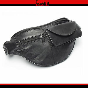 Real-Leather-Bum-Waist-Bag-Travel-Holiday-Money-Belt-Pouch-Black-Change-Bumbag1