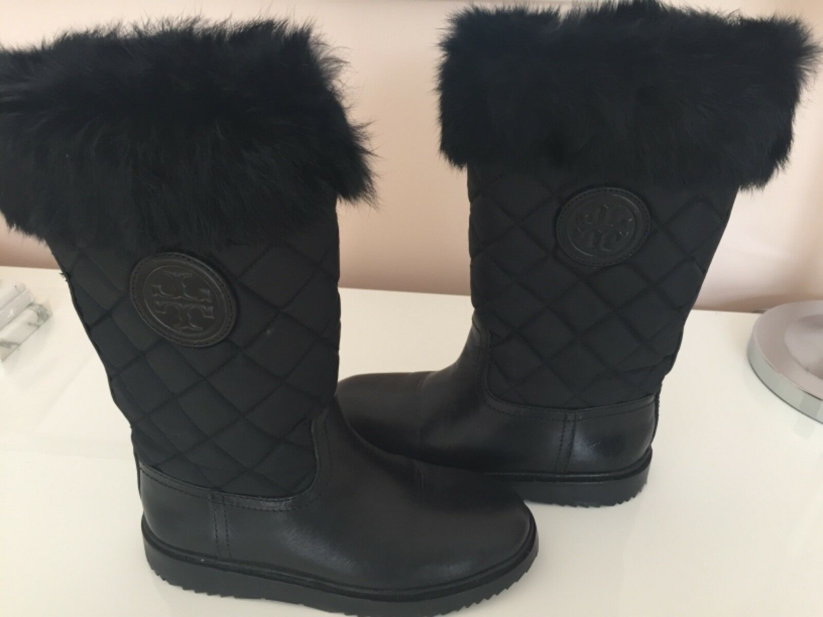 Tory Burch Fur Joey Cold Weather Boots 5.5 Brand new . Black .