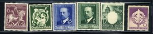 1940-45-Germany-Nazi-6-STAMP-SET-Third-Reich-Swastika-Deutsch-MNH-OG